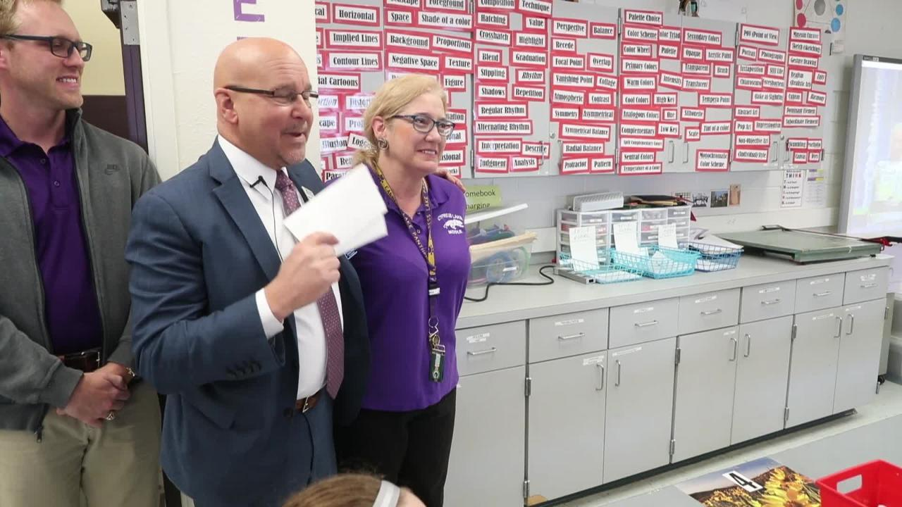 Watch Cypress Lake Middle School teacher receive word that she is a Golden Apple nominee
