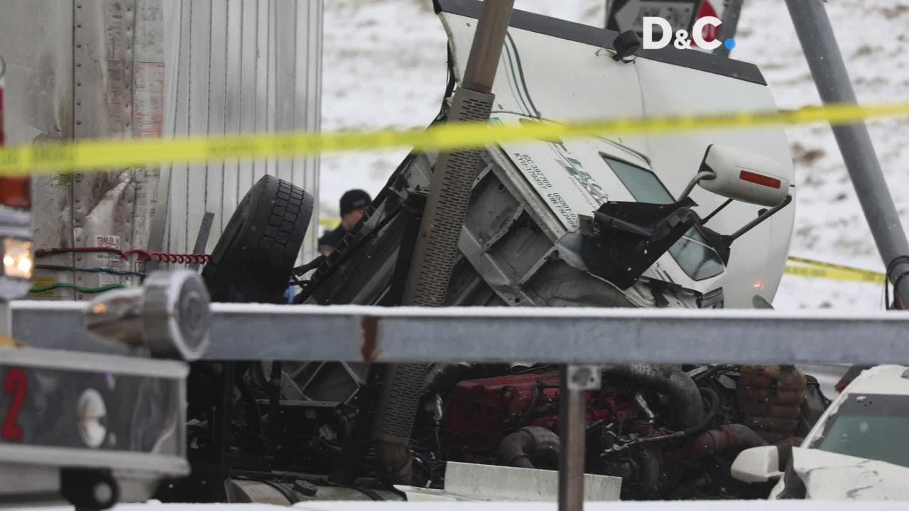 A tractor trailer left Rt. 104 ending up Hudson Ave. in Rochester.  The crash ended up killing two including the driver of the truck.