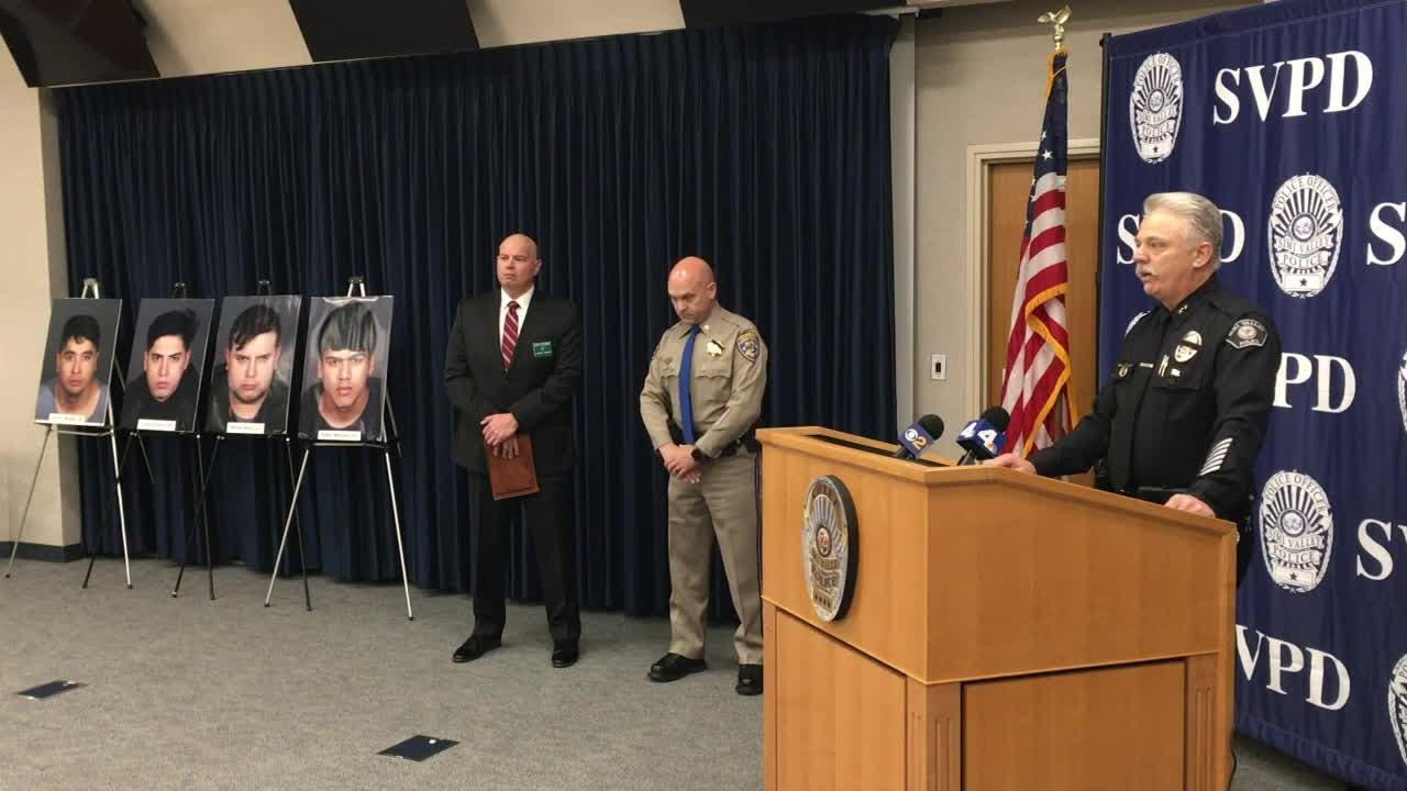 Simi Valley Police hold a press conference to announce the arrest of 4 suspects in a burglary ring spanning several counties in Southern California.