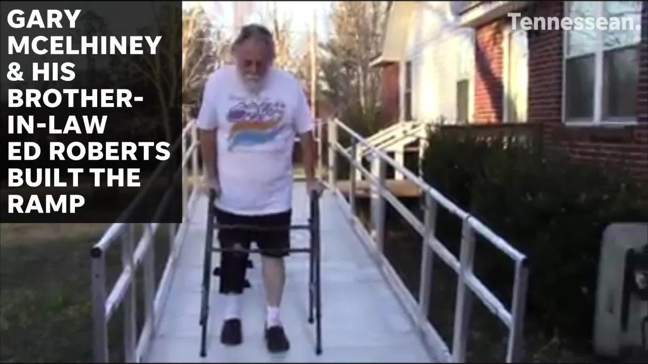 Fairview American Legion helps build ramp for local veteran recovering from broken leg.