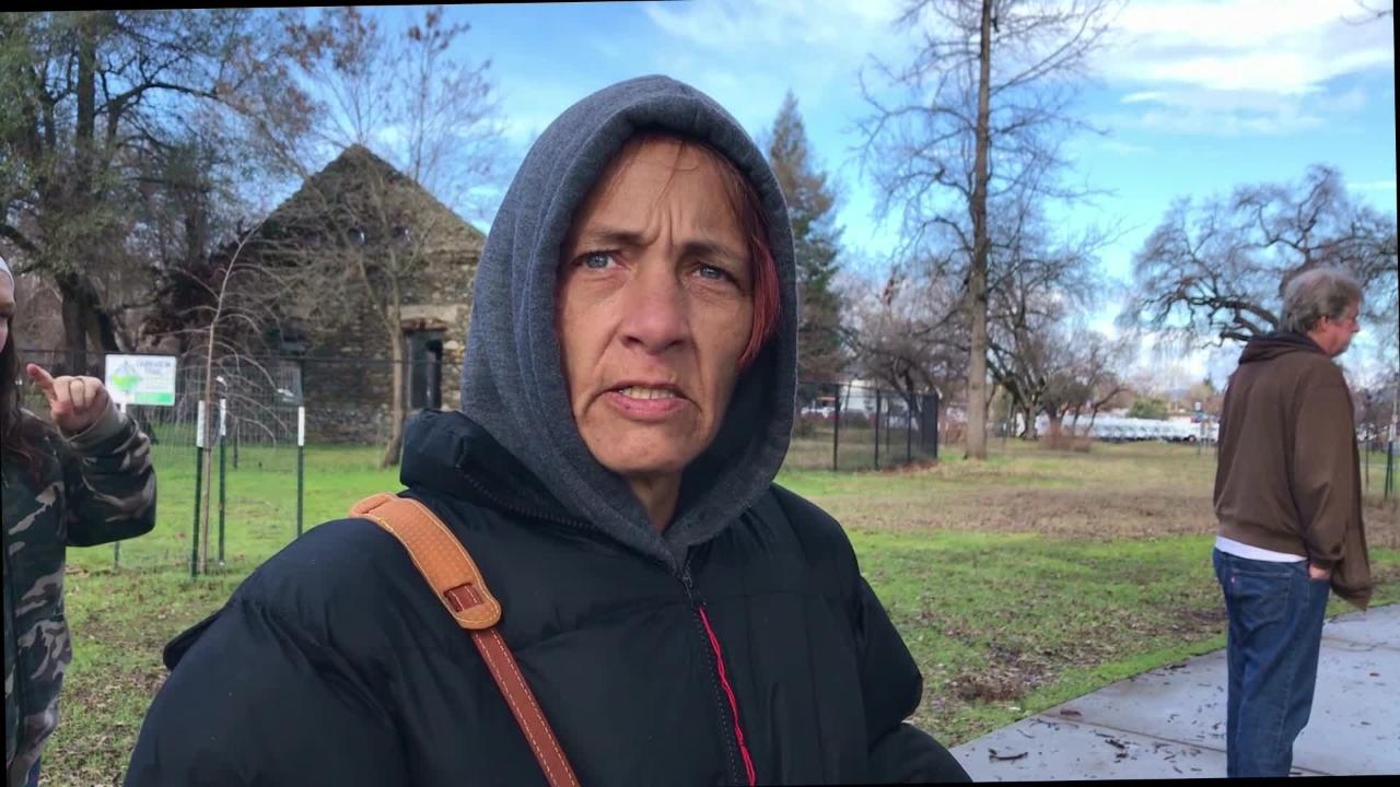 Tracey Walton recounts her experience being homeless. She's now staying in a tent in Redding's Parkview Riverfront Park.