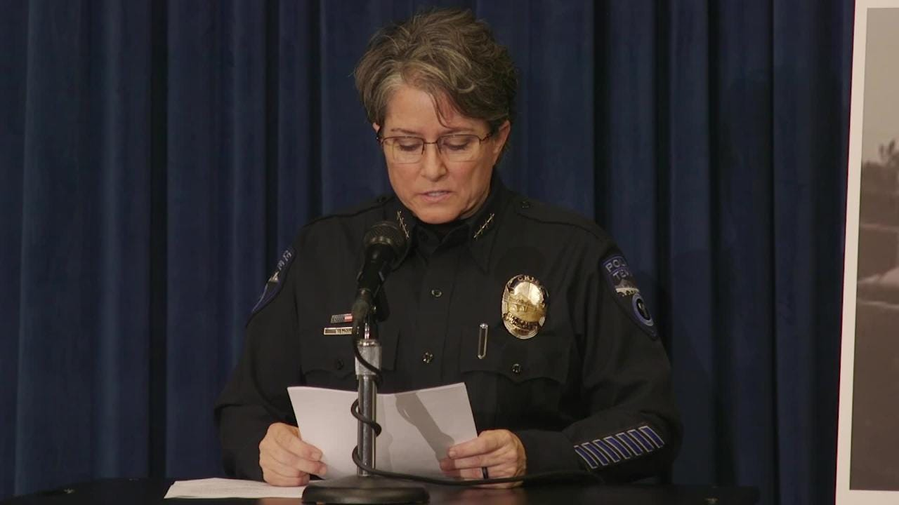 Tempe Police Chief Sylvia Moir addresses the shooting of a 14-year-old Antonio Arce by an officer at a press conference on Jan. 18, 2018.