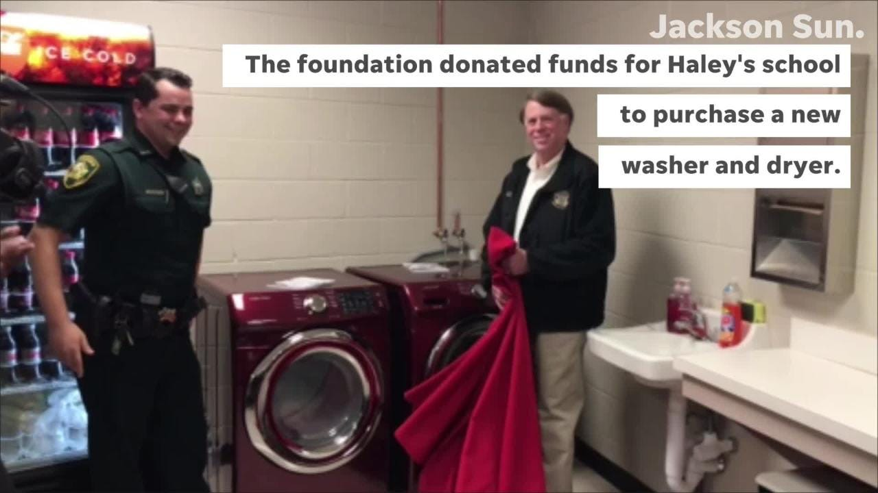 A Jackson middle school received a new washer and dryer following a Madison County Sheriff's deputy's viral good deed.