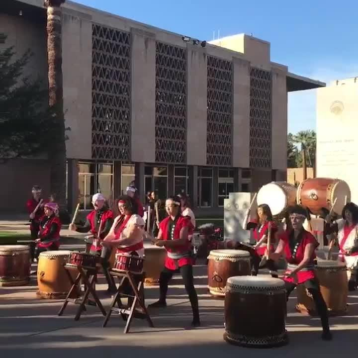 The 2019 Women's March in downtown Phoenix starts off with 45 minutes of Japanese Taiko drumming from members of the Fushicho Daiko dojo.