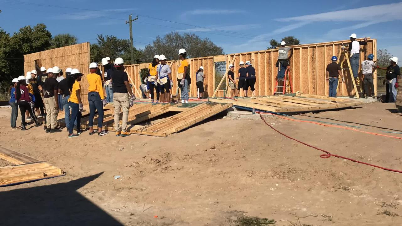 Eighty volunteers raised the walls of a new Habitat for Humanity home in Fort Myers, one of two built next to each other on Dupree Street, Saturday, Jan. 19, 2019.