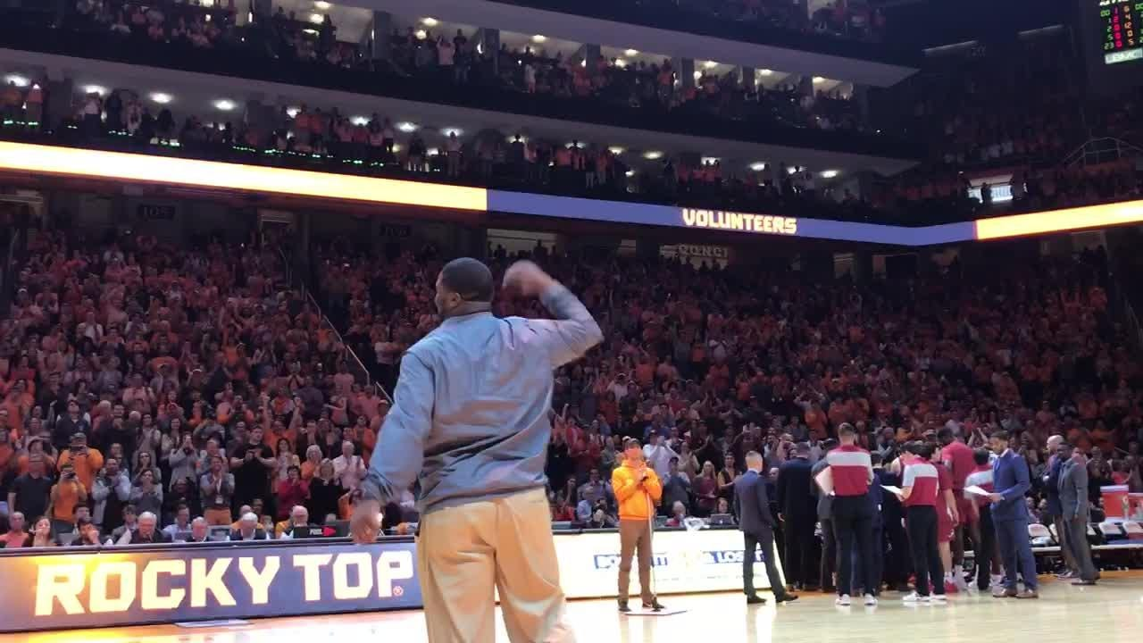 The former Vol quarterback was introduced at Thompson-Boling Arena after his hire was made official Saturday.