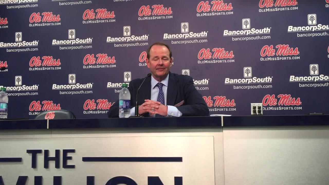 Ole Miss coach Kermit Davis talked Saturday about what his Rebels were able to do to defeat Arkansas 84-67 at The Pavilion.