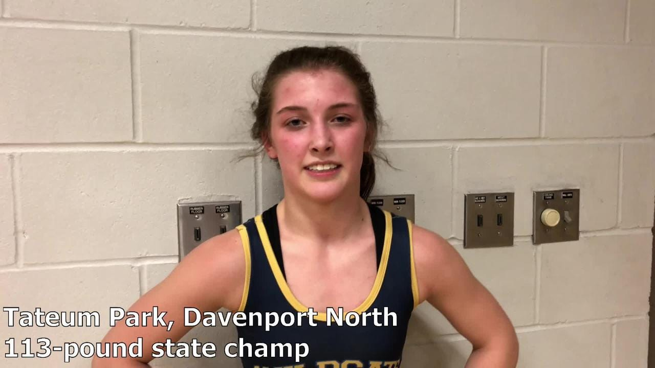 Davenport North's Tateum Park won the 113-pound title at the IWCOA girls' wrestling state tournament on Saturday.