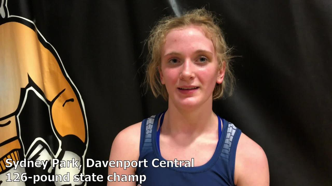 Davenport Central's Sydney Park won the 126-pound state title at the IWCOA girls' wrestling state tournament on Saturday.