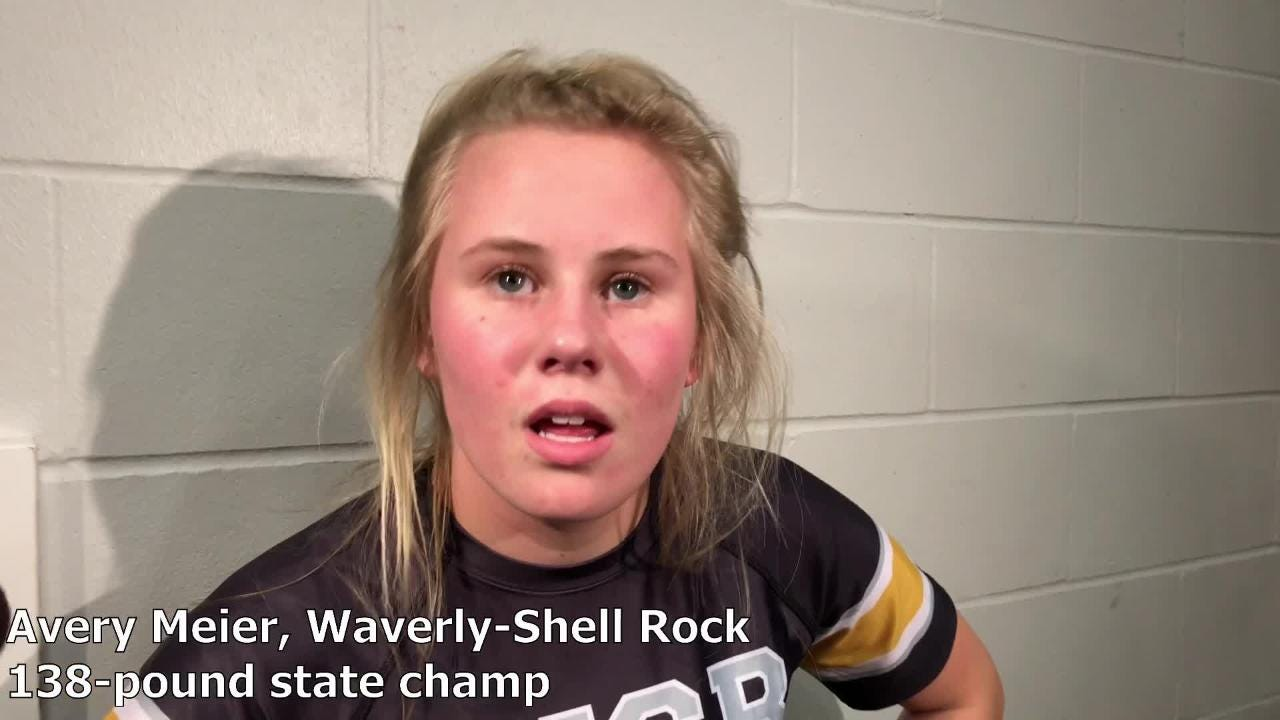 Waverly-Shell Rock's Avery Meier won the 138-pound state title at the IWCOA girls' wrestling state tournament on Saturday.