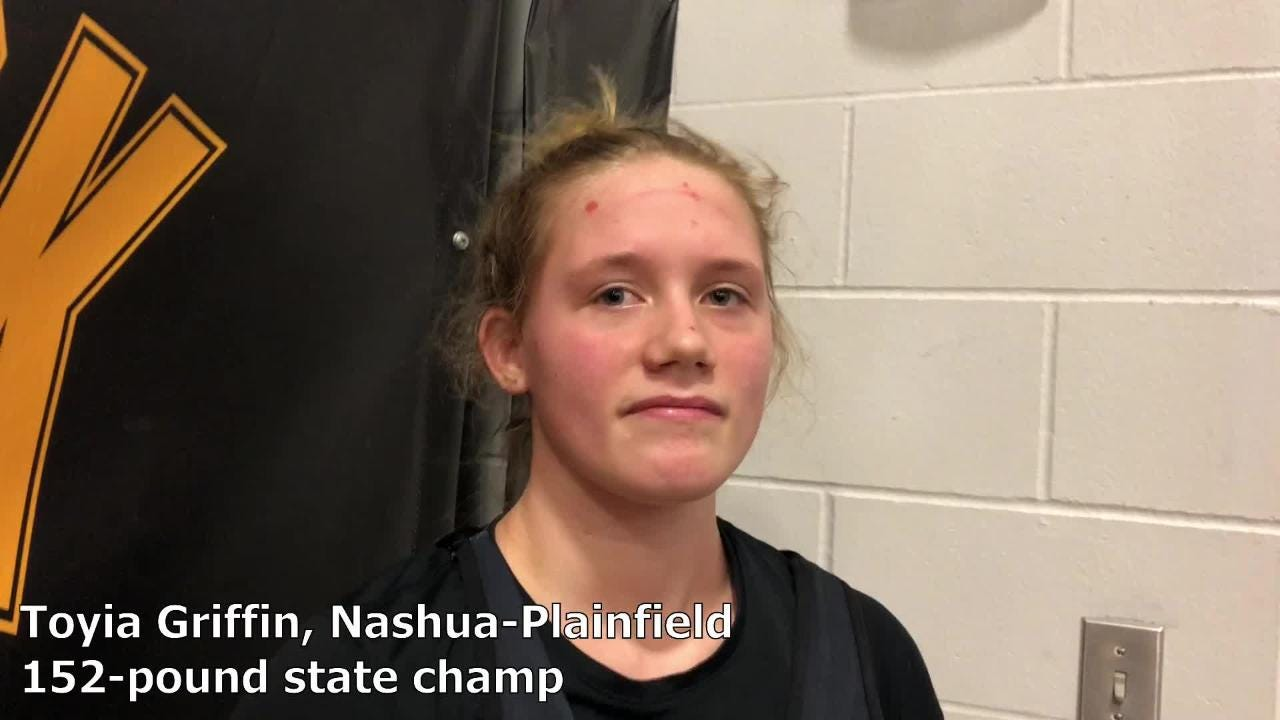 Nashua-Plainfield's Toyia Griffin won the 152-pound state title at the IWCOA girls' wrestling state tournament on Saturday.
