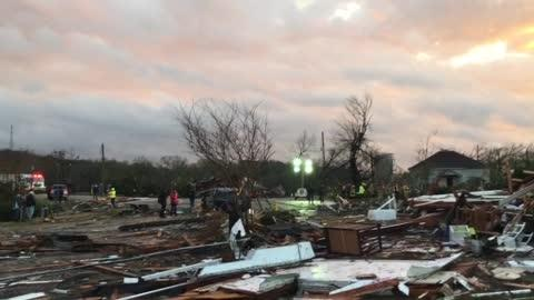 A video taken shortly after an apparent tornado tore through Wetumpka shows the extensive damage