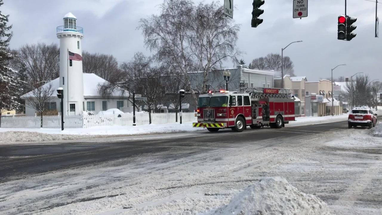 Emergency crews responded to a residence in Endicott amid a winter storm Sunday.