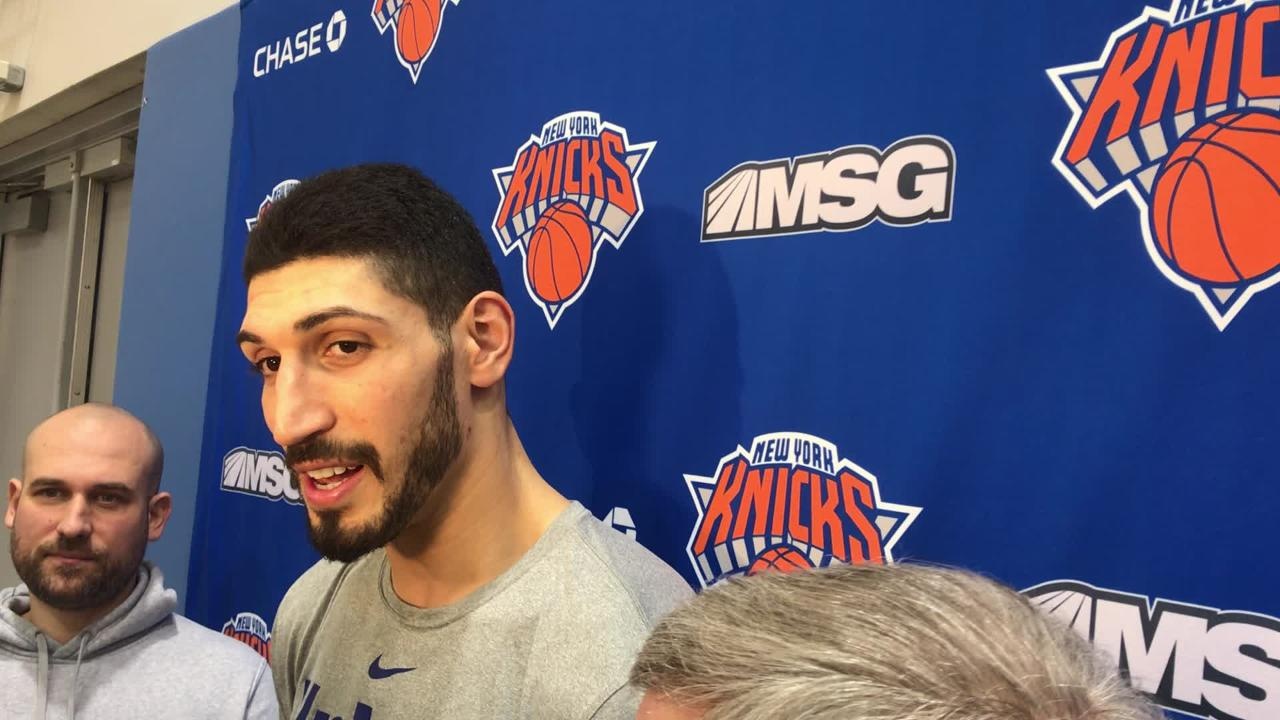 After a week away from his team, Enes Kanter was glad to be back with the Knicks.