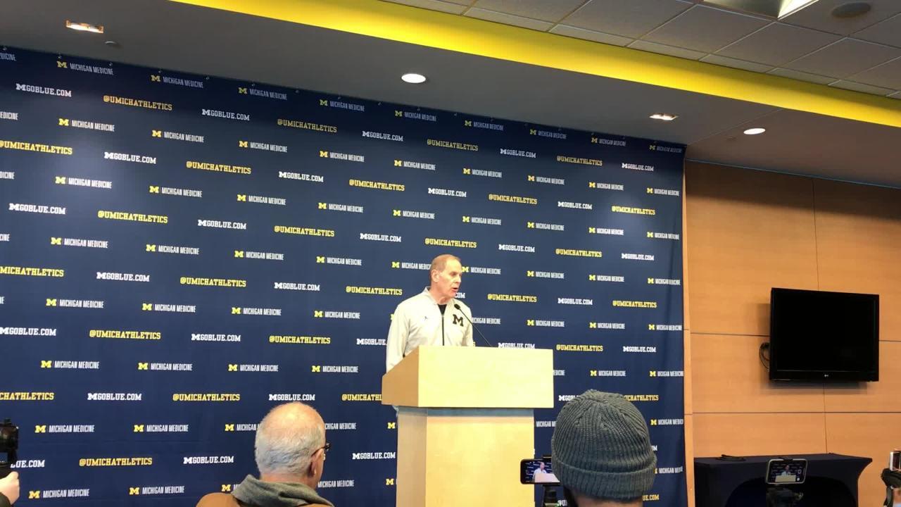 Michigan coach John Beilein speaks to the media on Monday, Jan. 21, 2019, in Ann Arbor.