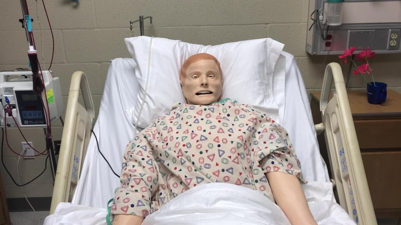 Top of the line equipment at the UT Martin Parsons Center is the roughly $87,000 simulator manikin that mimics everything a human patient might do.