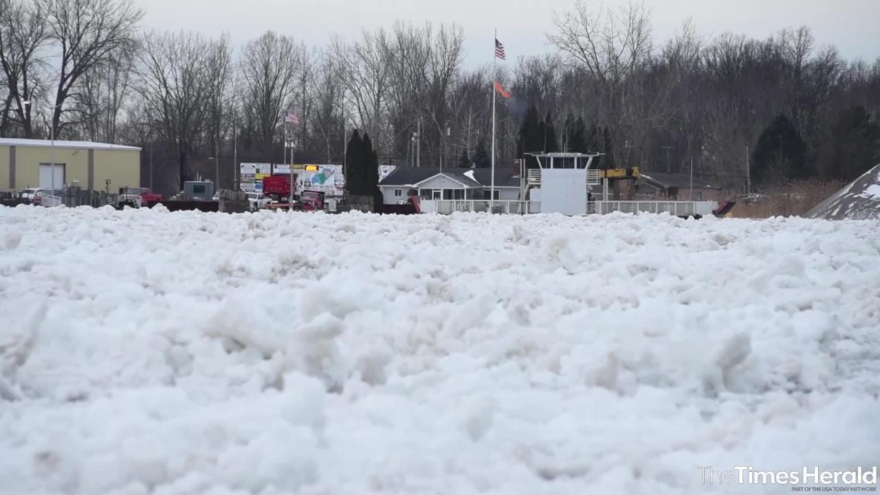 An ice jam formed in the St. Clair River near Algonac over the weekend, resulting in climbing water levels and flooding along the river and in canals.