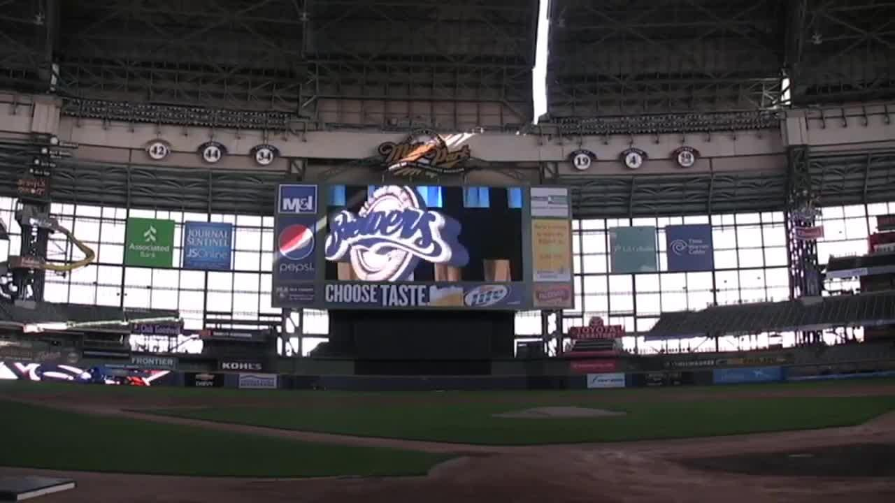 The Brewers unveiled a new scoreboard at Miller Park. The high-definition video scoreboard is one of the largest screens in major league baseball.