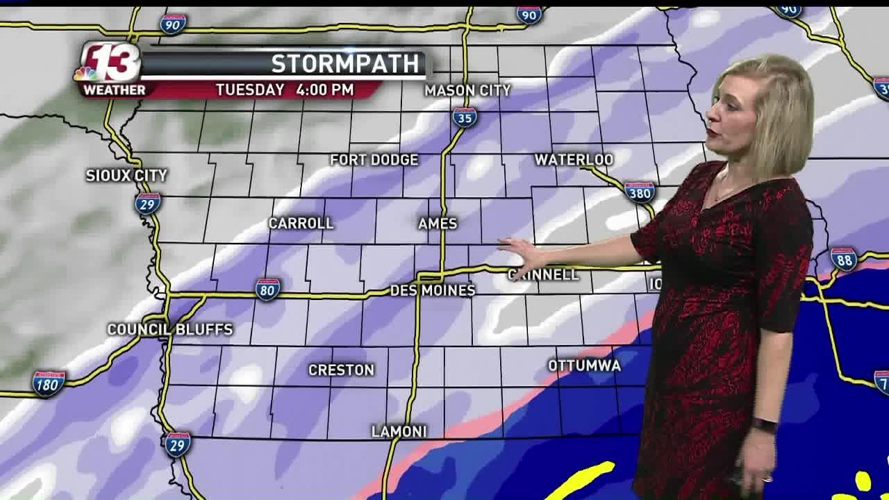 The forecast calls for snow Tuesday afternoon into the evening. Cold temperatures are ahead.