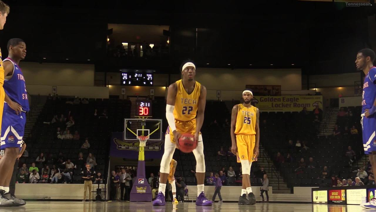 Courtney Alexander, a starter for Tennessee Tech, switched up his free throw style to improve his percentage with an underhand toss between the legs.