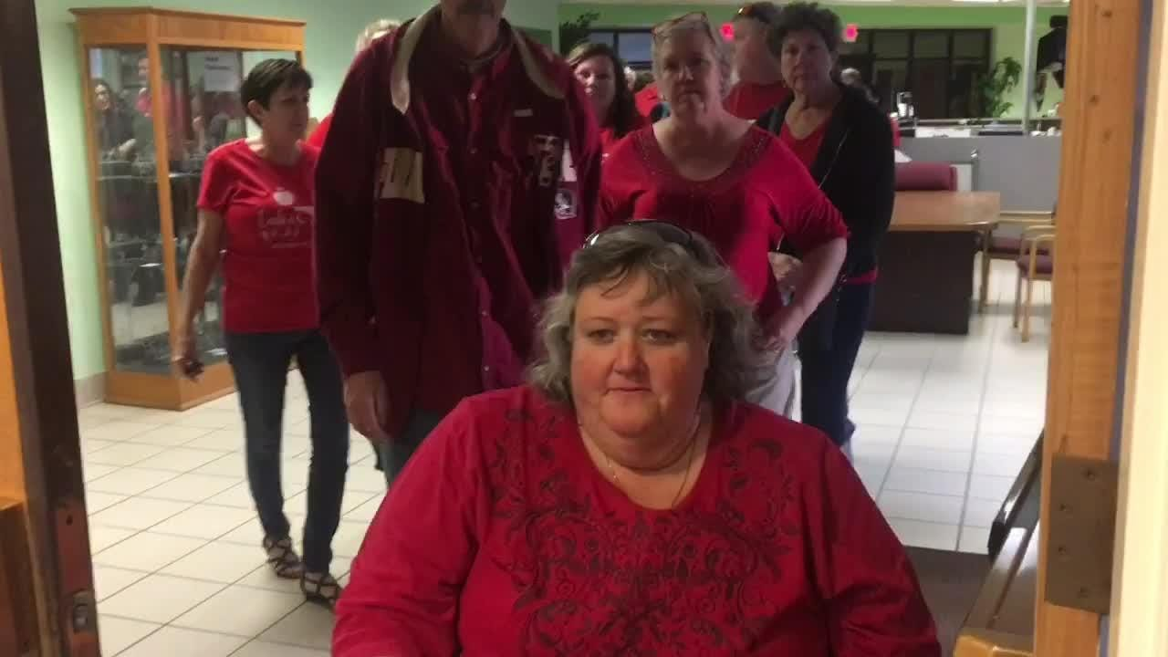Hundreds of teachers protested for better pay at the Brevard School Board meeting Jan. 22, 2019.
