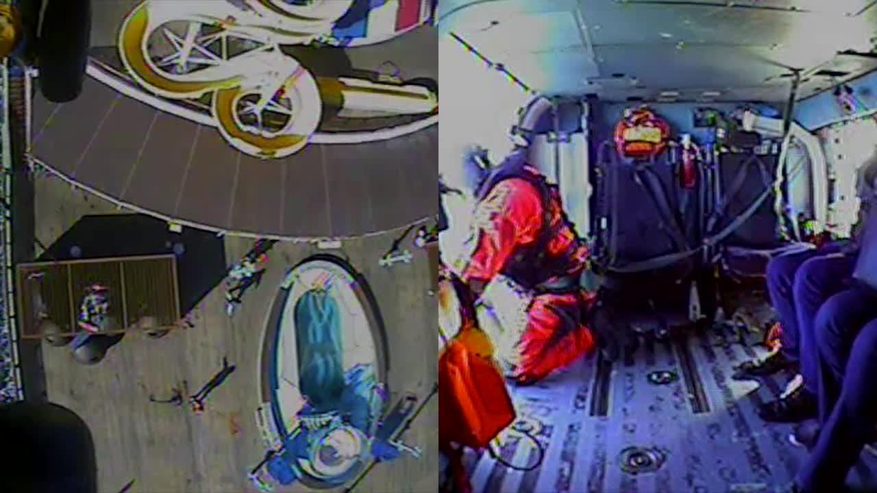 A U.S. Coast Guard helicopter crew lifts  a woman from the deck of a Carnival Pride cruise ship, Jan. 21, 2019. (Video by Air Station Elizabeth City)