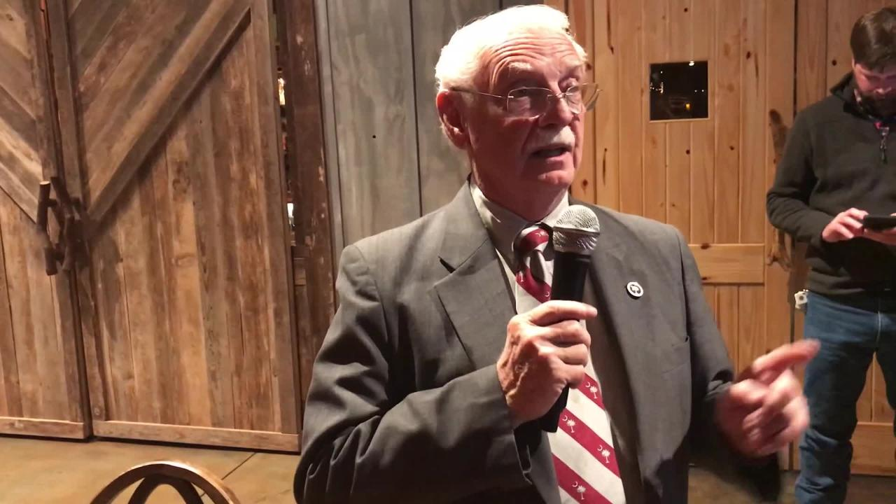 State Rep. Dwight Loftis speaks to supporters after winning Tuesday's state Senate District 6 Republican primary.