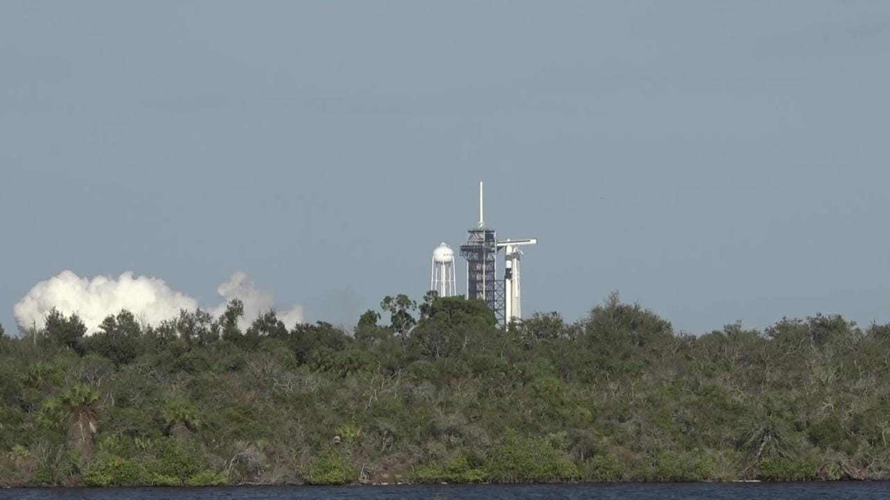SpaceX test fires a Falcon 9 rocket with the Crew Dragon capsule at Kennedy Space Center on Thursday, Jan. 24, 2019.