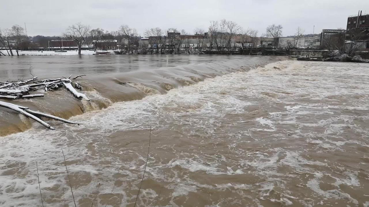 The Muskingum River at the Zanesville Dam Thursday afternoon.