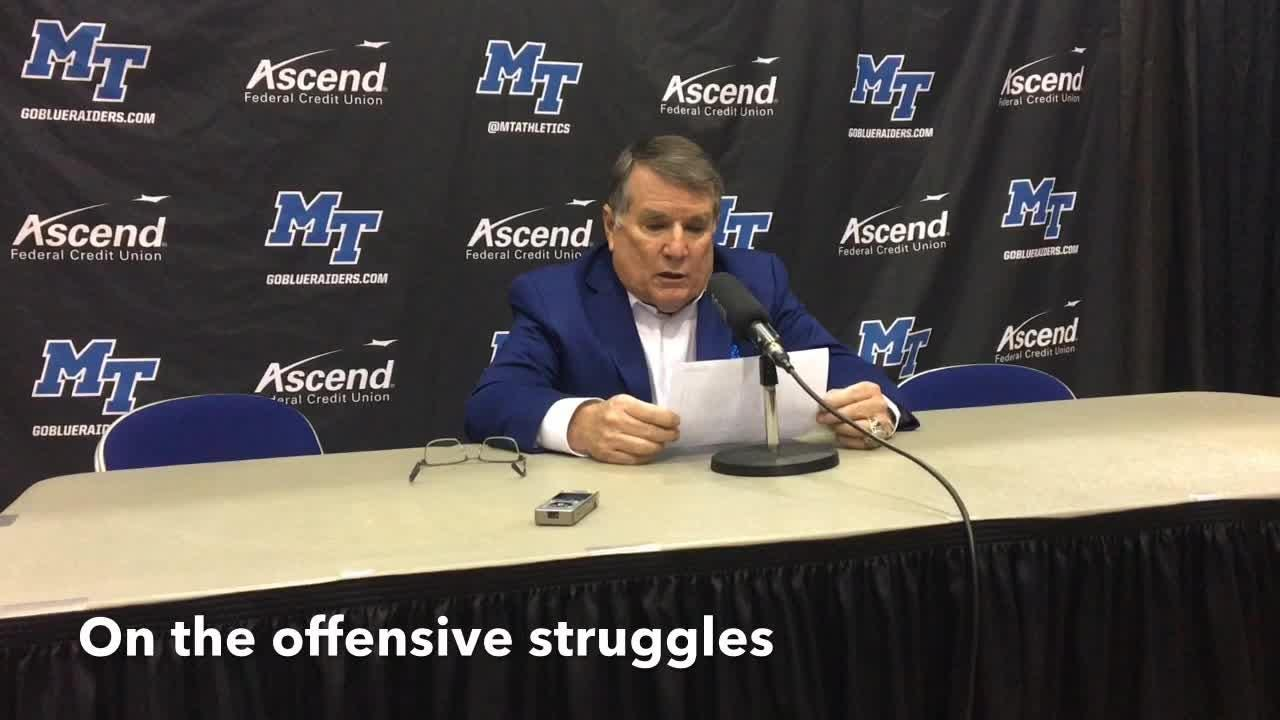 MTSU women's basketball coach Rick Insell discusses the Lady Raiders' 60-47 loss to Rice on Jan. 24, 2019.