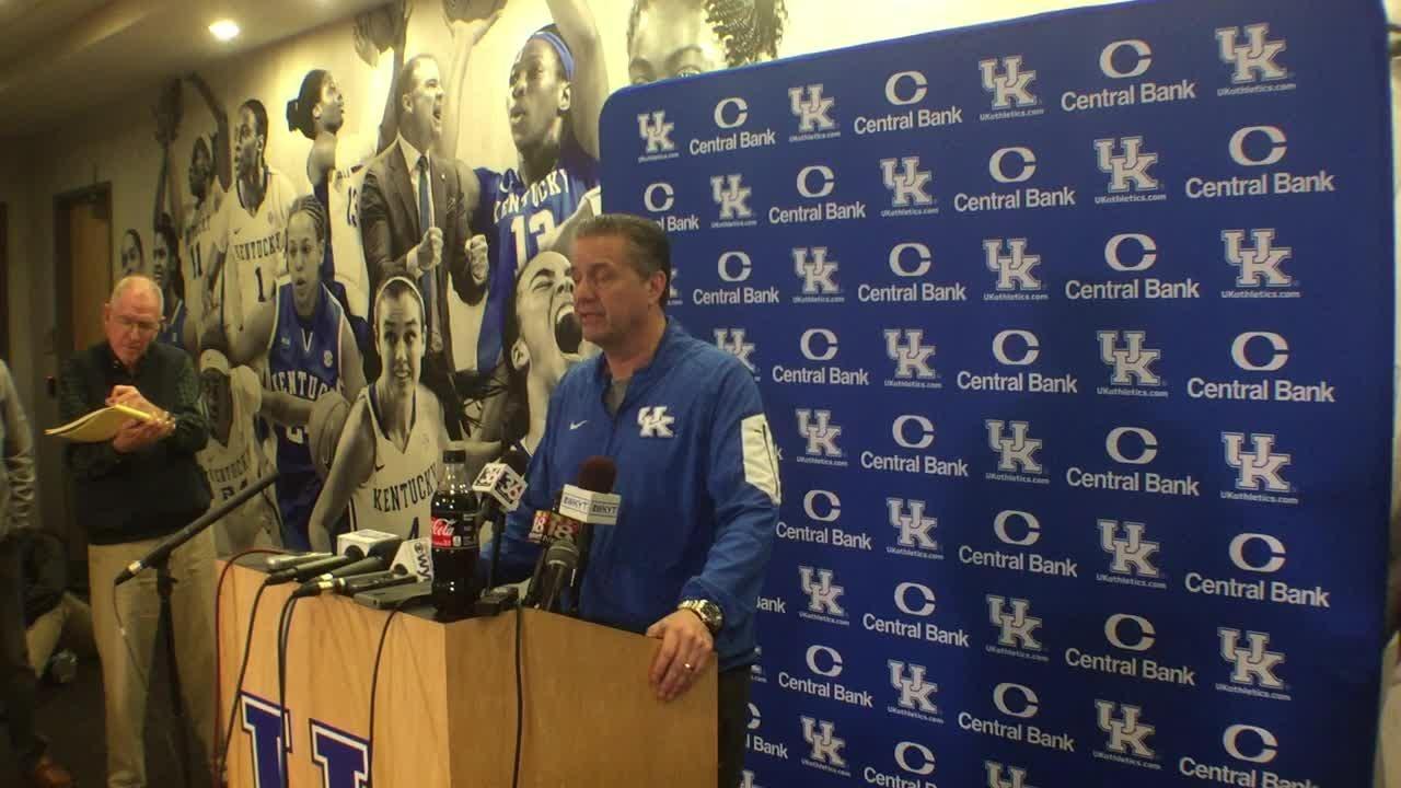 Kentucky coach John Calipari's pre-Kansas news conference.
