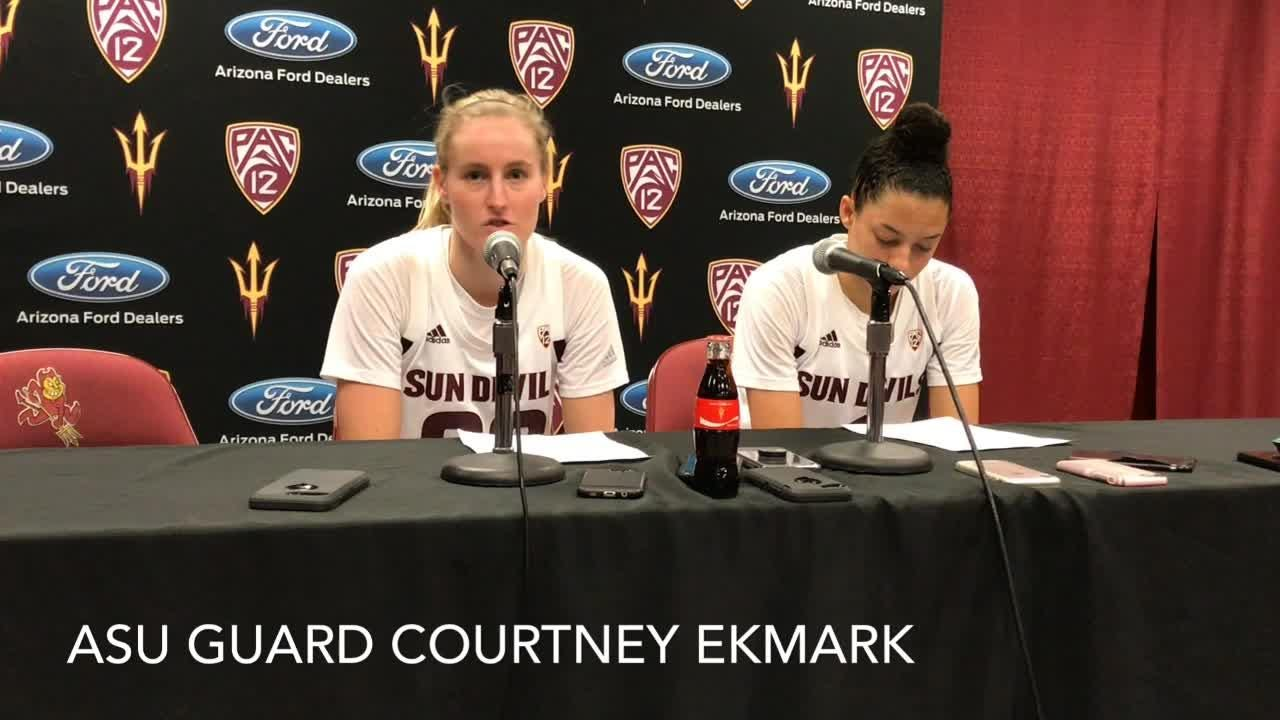 ASU women's basketball coach Charli Turner Thorne, players after matinee loss to UCLA