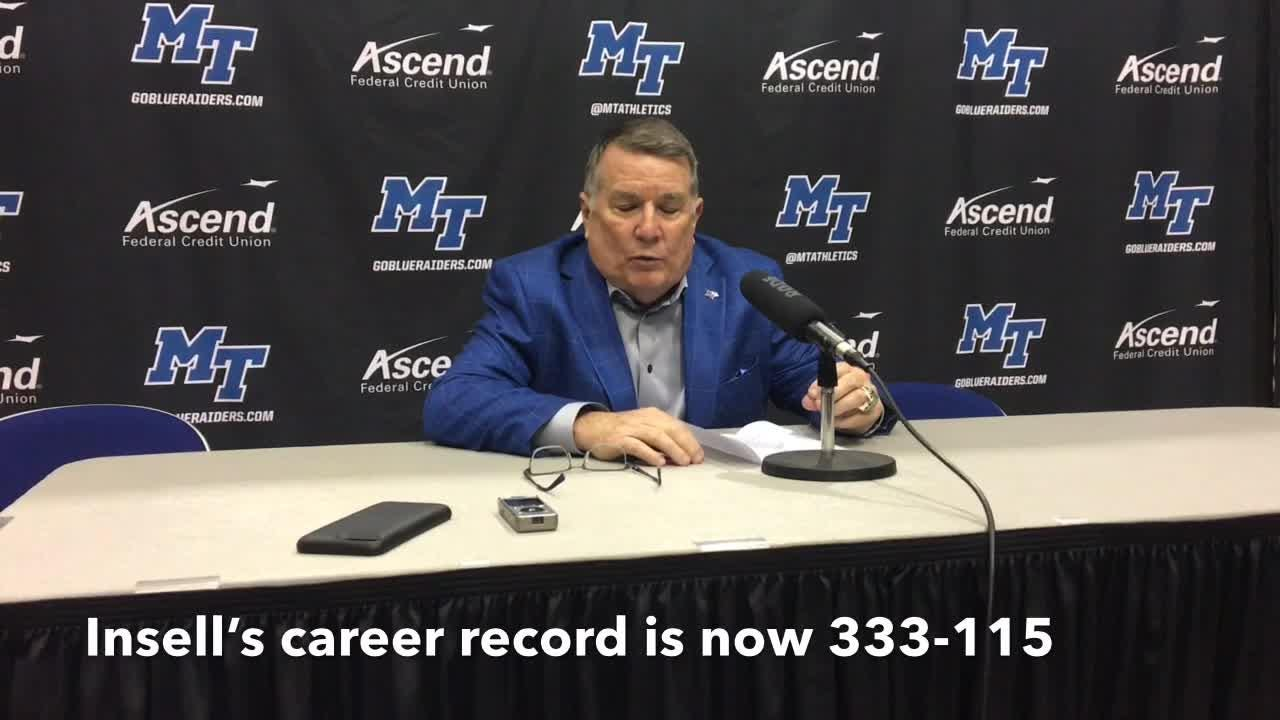 MTSU women's basketball coach Rick Insell gives his thoughts on becoming the all-time winningest basketball coach at MTSU on Jan. 26, 2019.