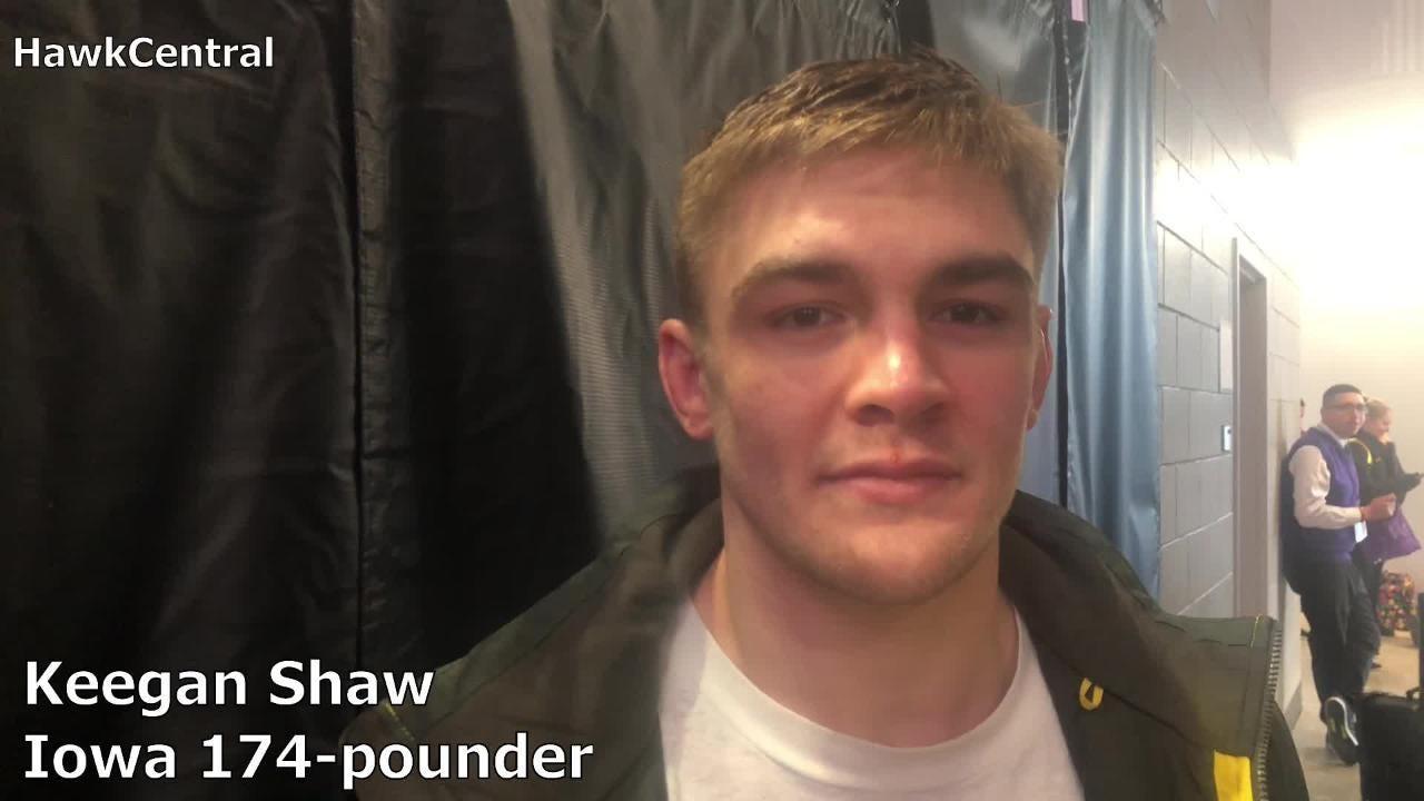 Iowa's Keegan Shaw won twice — against Illinois's Nick Gasbarro and Northwestern's Johnny Sebastian — during the Hawkeyes' weekend road trip.