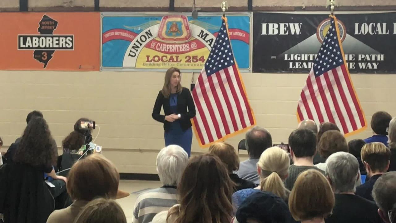 New Rep. Mikie Sherrill hosted her first town hall Sunday in Parsippany, talking about school safety, the opioid crisis and the Gateway Tunnel.
