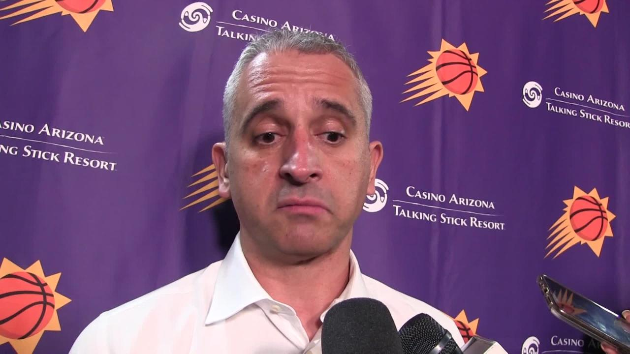 Devin Booker, Richaun Holmes, MIkal Bridges and head coach Igor Kokoskov discuss another slow start in Sunday's road loss to the Los Angeles Lakers.