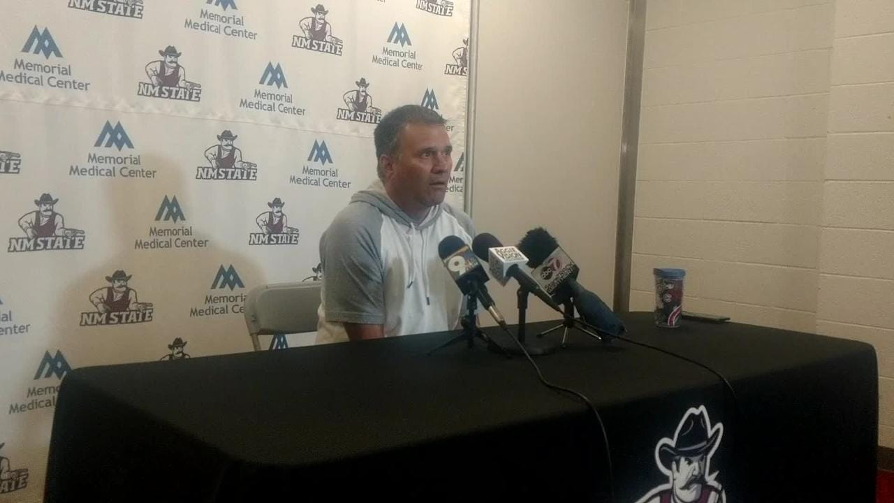 New Mexico State coach Chris Jans spoke briefly on the recent knee injury of Aggies center Ivan Aurrecoechea.