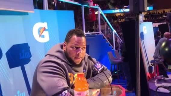 L.A. Rams defensive lineman Ndamukong Suh reflects on his time with the Detroit Lions at Super Bowl Opening Night in Atlanta, Jan. 28, 2019.