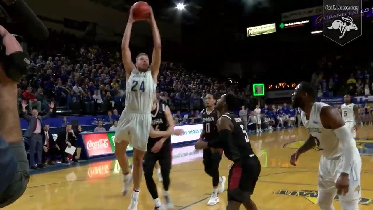 A compilation of Mike Daum's thunderous dunks vs. Omaha in the 47th Pork Classic in Frost Arena. The Jacks defeated the Mavericks 83-73.