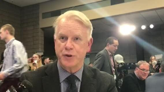 CBS Sports analyst and former NFL MVP Boomer Esiason speaks to the media on Tuesday, Jan. 29, 2019, ahead of Super Bowl LIII in Atlanta.