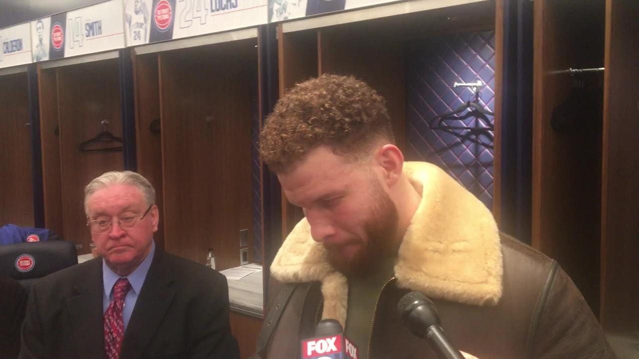 Detroit Pistons' Blake Griffin talks about the Milwaukee Bucks after suffering loss at LCA in Detroit on Tuesday, Jan. 29, 2019.