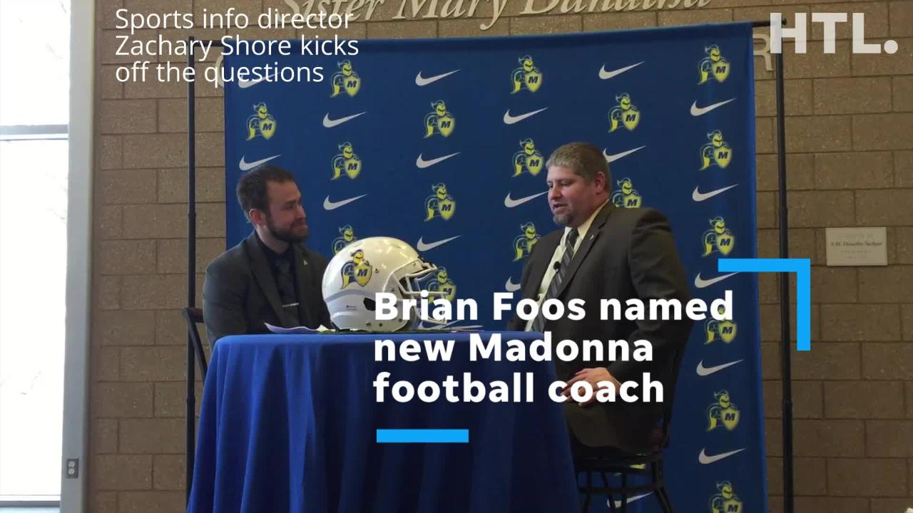 Madonna University formally introduced new football coach Brian Foos.