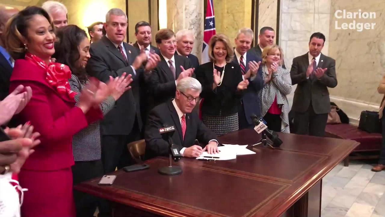 Gov. Phil Bryant is surrounded by lawmakers and other officials as he signs the first major legislation of the 2019 session, House Bill 366.
