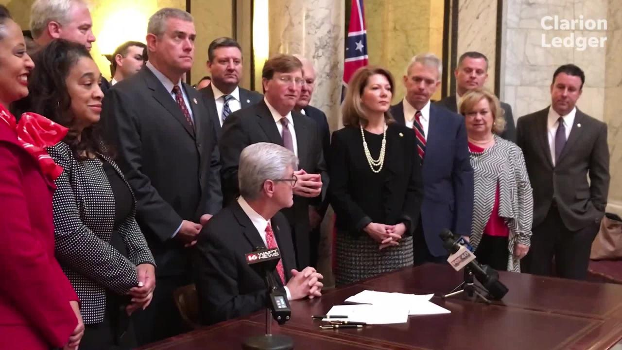 Gov. Phil Bryant signed House Bill 366 into law Wednesday, and Lt. Gov. Tate Reeves and House Speaker Philip Gunn also discussed the bipartisan legislation.