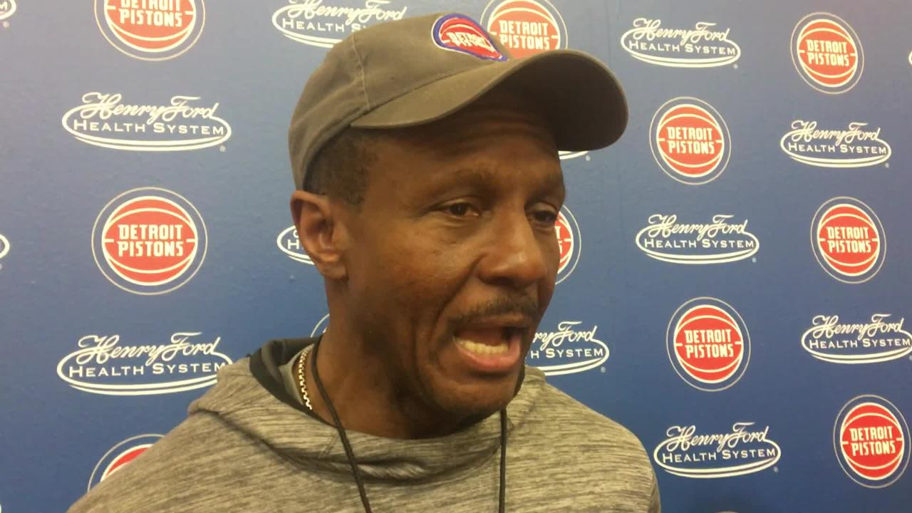 Detroit Pistons coach Dwane Casey speaks to the media after practice on Wednesday, Jan. 30, 2019, in Auburn Hills.