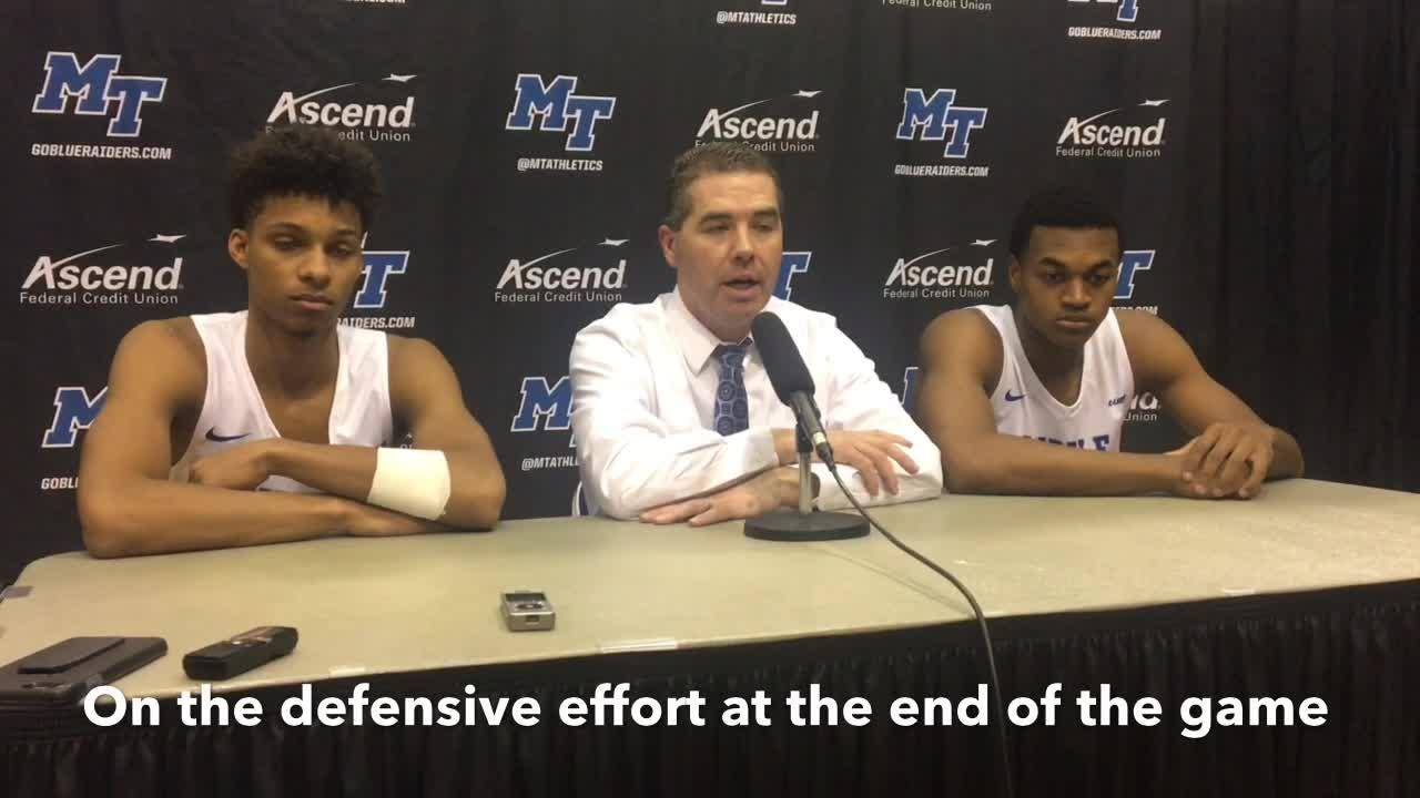 MTSU coach Nick McDevitt and Donovan Sims on the Blue Raiders' 71-65 win over UAB on Jan. 30, 2019.