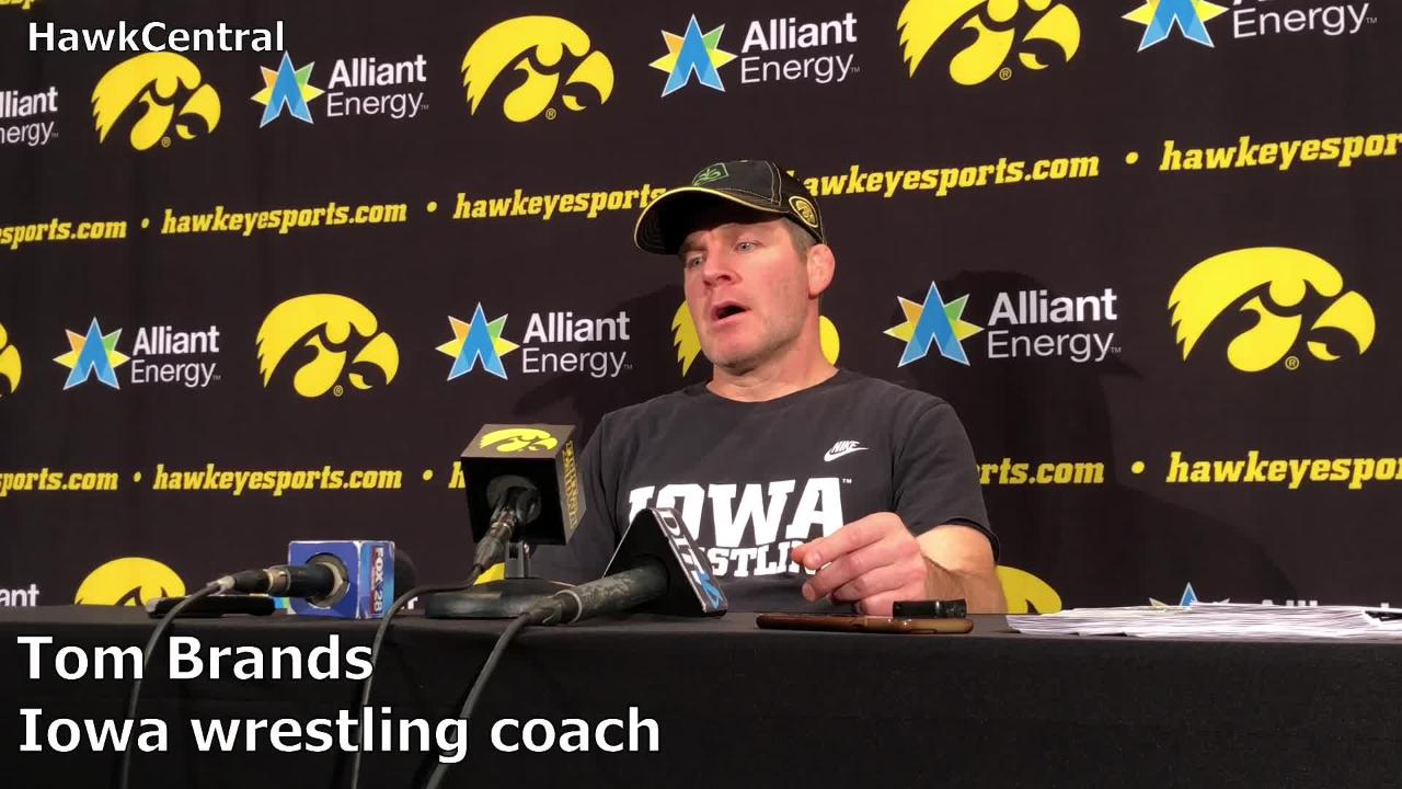 Iowa wrestling coach Tom Brands talks about Cash Wilcke, Keegan Shaw and the Hawkeyes' upcoming dual against Nebraska during his weekly meeting with the media.