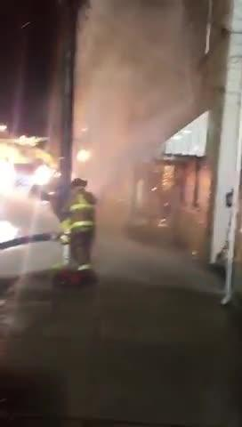 This video taken by the Flores family shows water from a malfunctioning fire hydrant pounding against the second floor and basement of their home.