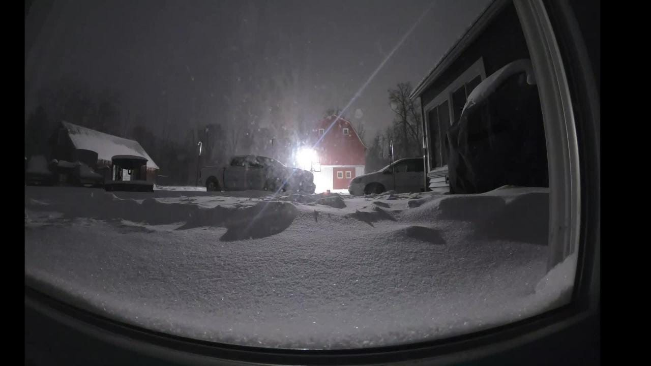YouTuber The Mitten Dad records time lapse of 15 inches of the snow at his home in Galesburg brought on by winter storm Jayden.