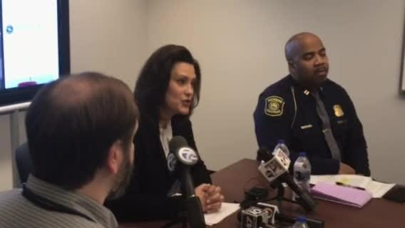 Gov. Gretchen Whitmer briefed media members on precautions amid record cold temperatures across Michigan on Thursday, Jan. 31, 2019.